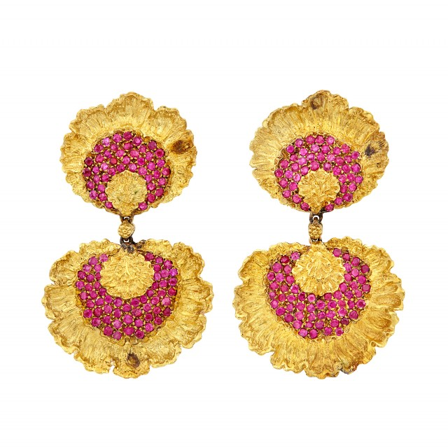 Pair of Gold and Ruby Pendant-Earclips, Buccellati