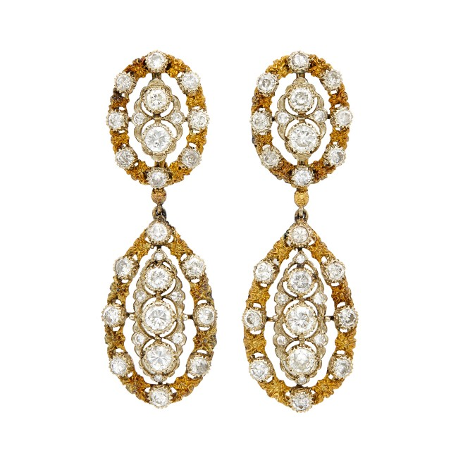 Pair of Gold and Diamond Pendant-Earclips, Buccellati