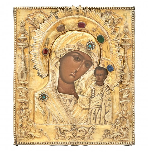Russian Silver-Gilt Icon of the Mother of God of Kazan