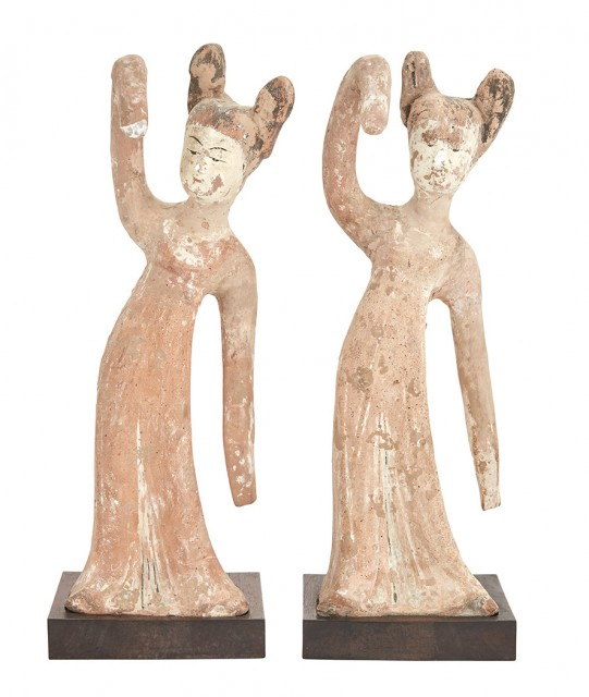 Two Chinese Painted Pottery Figures of Court Ladies Dancing