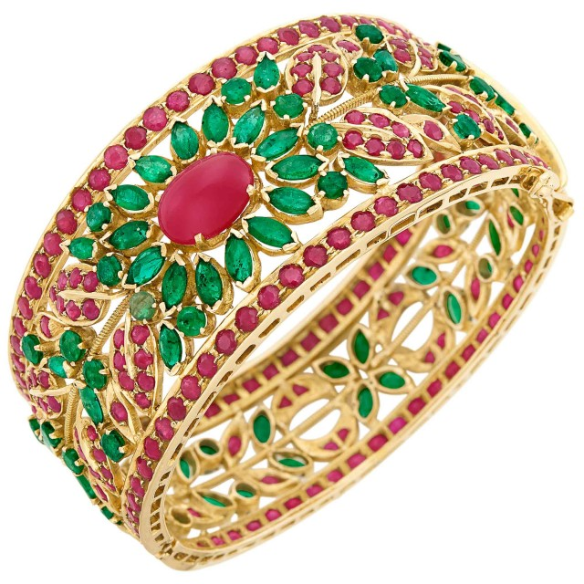 Gold, Cabochon Ruby, Ruby and Emerald Bangle Bracelet
