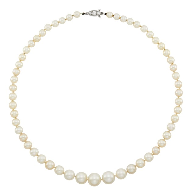 Natural Pearl Necklace with Platinum and Diamond Clasp, J. E. Caldwell