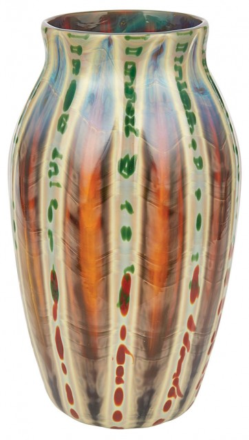 Tiffany Favrile Ribbed Glass Agate Vase