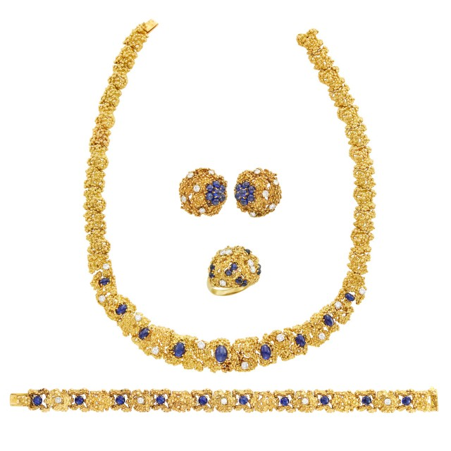 Boucheron Paris Suite of Nugget Gold, Cabochon Sapphire and Diamond Jewelry