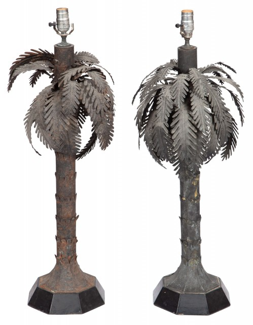 Pair of Tôle Palm Tree-Form Table Lamps