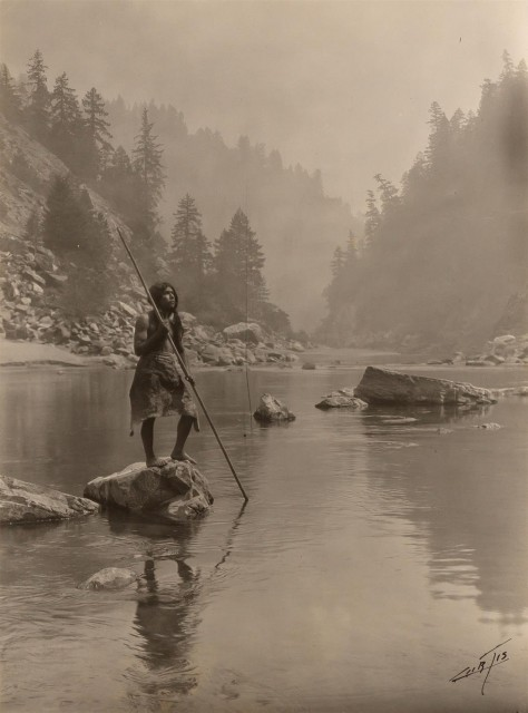 CURTIS, EDWARD SHERRIFF (1868-1952)  A smoky day at the Sugar Bowl, [Trinity River]-Hupa,
