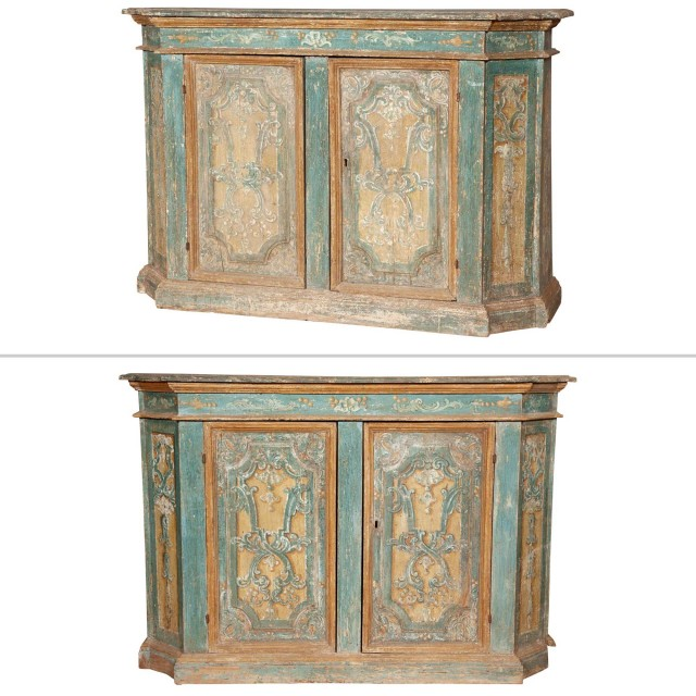 Pair of Italian Polychome-Painted Tall Side Cabinets