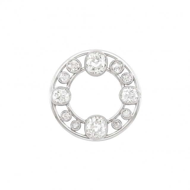 Platinum and Diamond Circle Pin