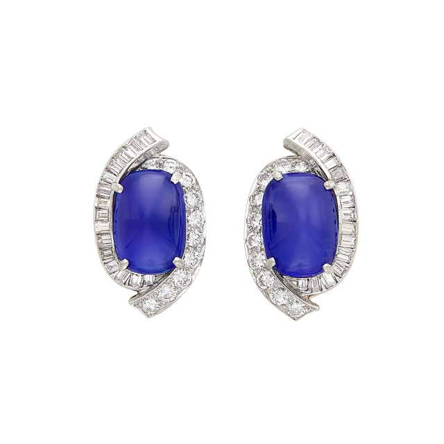 Pair of Platinum, Cabochon Kashmir Sapphire and Diamond Earclips