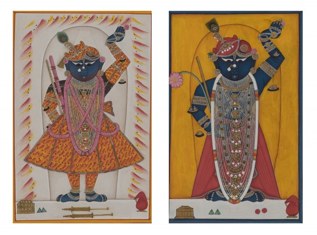 Two Indian Nathdwara Painted Miniatures of Krishna