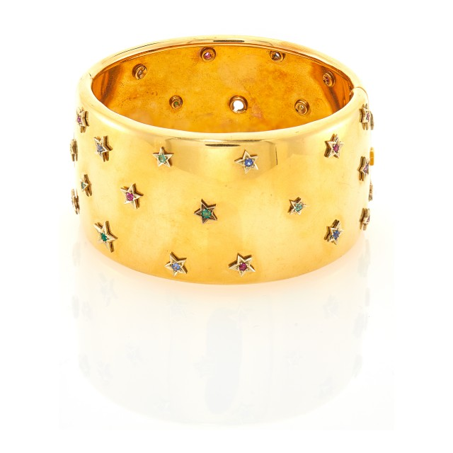 Wide Gold and Gem-Set Cuff Bracelet