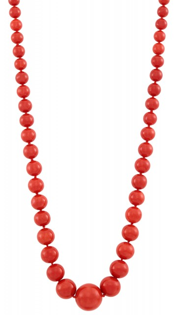Oxblood Coral Bead Necklace with Gold and Coral Bead Clasp