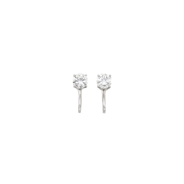 Pair of White Gold and Diamond Stud Earclips