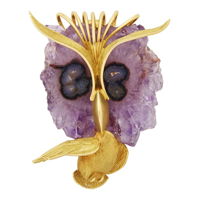Gold and Amethyst Owl Brooch-Pendant, French