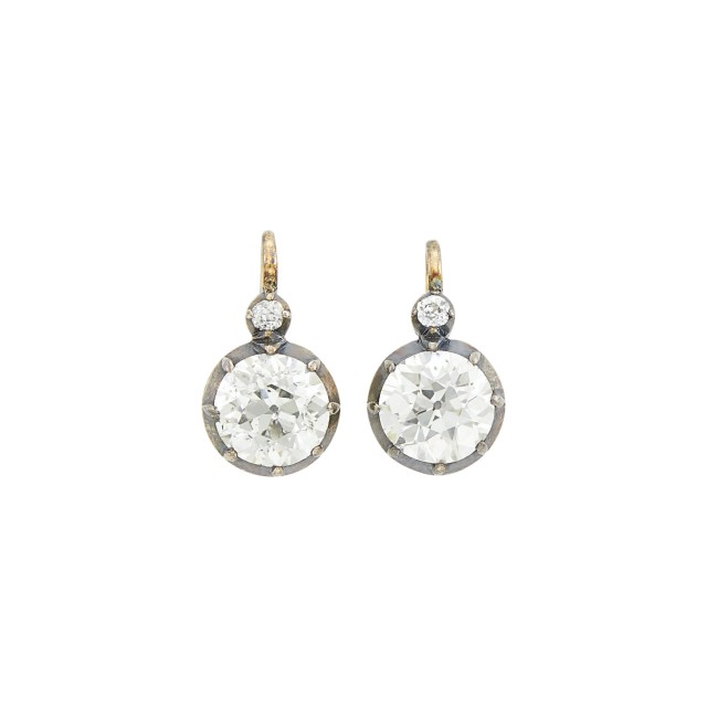 Pair of Antique Gold, Silver and Diamond Earrings