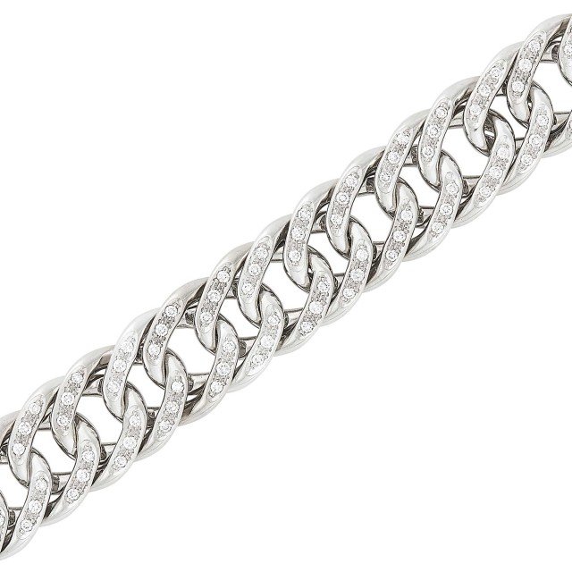 White Gold and Diamond Curb Link Bracelet