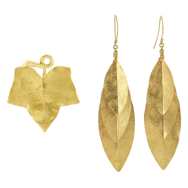 Pair of Gold Leaf Earrings and Brooch