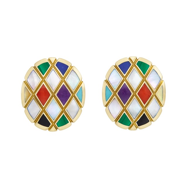 Pair of Gold, Mother-of-Pearl and Hardstone Earrings, Asch Grossbardt