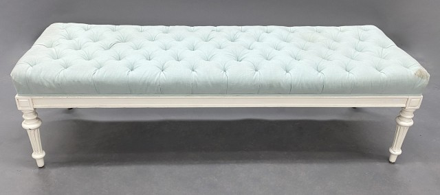 Louis XVI Style Painted and Button Tufted Upholstered Bench