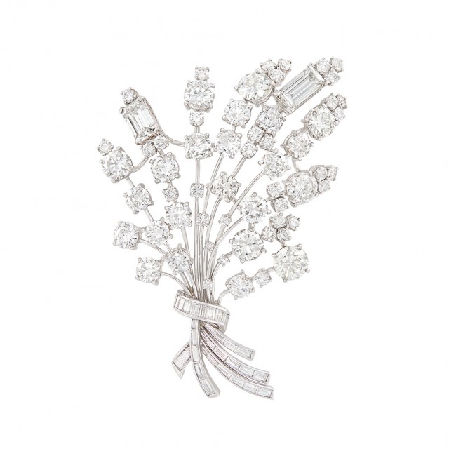 Platinum and Diamond Bouquet Spray Brooch