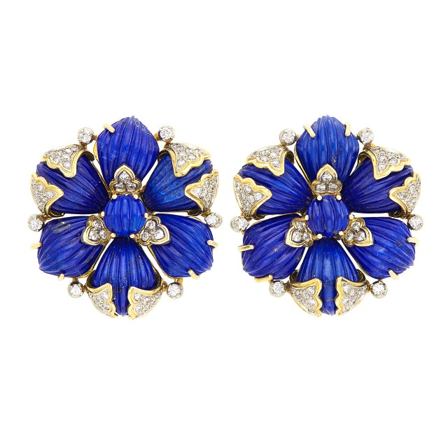 Pair of Gold, Fluted Lapis and Diamond Earclips