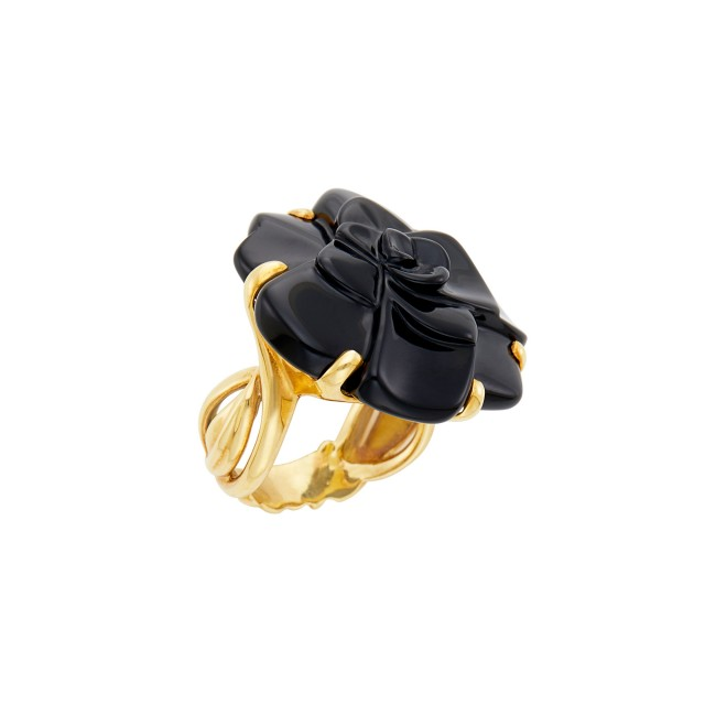 Chanel Gold and Carved Black Onyx 'Camelia' Ring, France