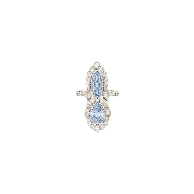 Platinum, Fancy Intense and Fancy Vivid Blue Diamond and Diamond Ring