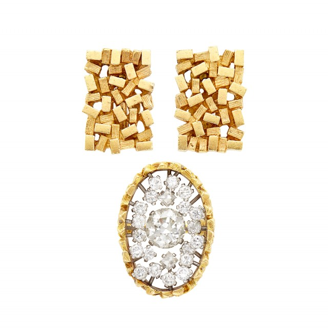 Gold and Diamond Ring, John Donald, and Pair of Gold Earclips