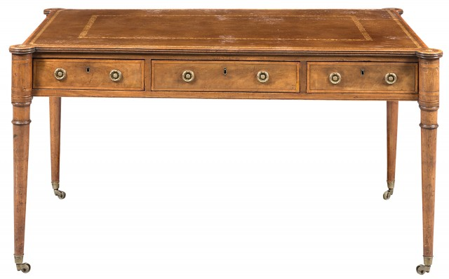 George III Satinwood-Inlaid Mahogany Writing Table