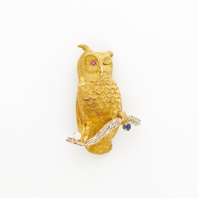 Two-Color Gold, Diamond, Sapphire and Ruby Owl Brooch