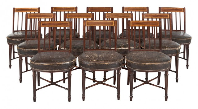 Set of Twelve George III Leather-Upholstered Inlaid-Mahogany Dining Chairs by Gillows