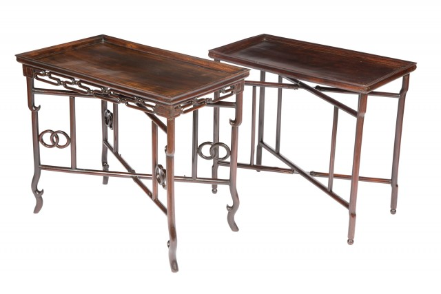 Two Chinese Hardwood Side Tables on X-form Stands