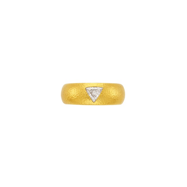 High Karat Hammered Gold and Diamond 'Gemma' Band Ring, Linda Lee Johnson