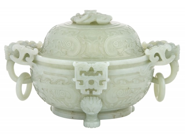 Chinese Celadon Jade Censor With Cover