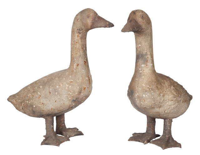 Two Chinese Painted Metal Ducks