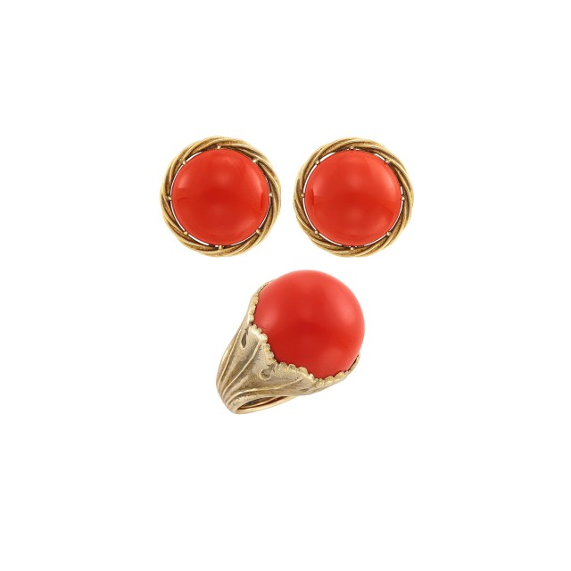 Pair of Gold and Oxblood Coral Earclips and Ring