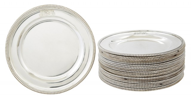 Set of Twenty-Four George III Sterling Silver Dinner Plates