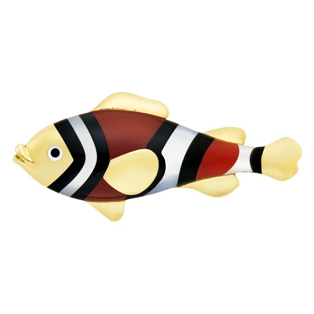Gold, Carnelian, Black Jade and Mother-of-Pearl Fish Brooch, Tiffany and Co.