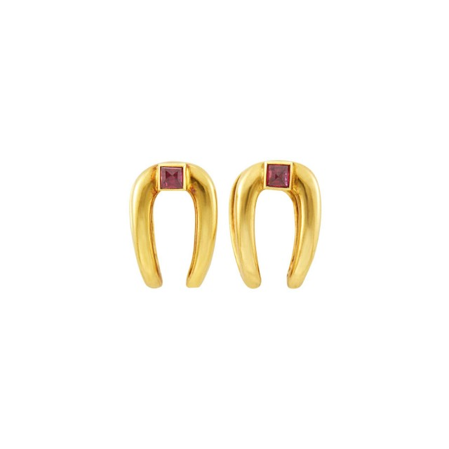 Pair of Gold and Ruby Cufflinks, France