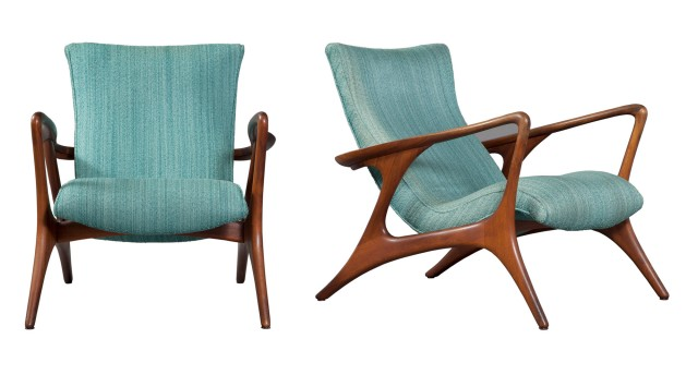 Pair of Vladimir Kagan Upholstered Walnut  Contour