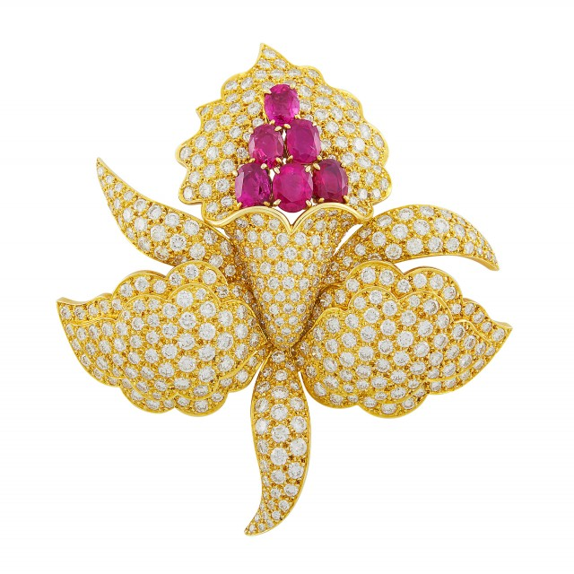 Gold, Ruby and Diamond Orchid Clip-Brooch, Van Cleef and Arpels