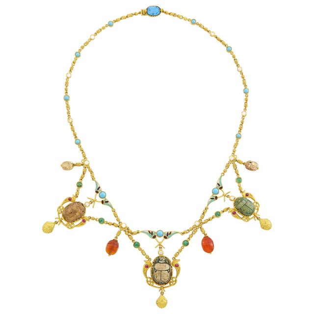 High Karat Gold, Faience Scarab, Enamel, Hardstone, Cabochon Gem-Set and Diamond Swag Necklace