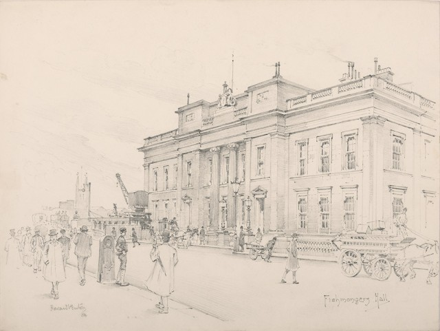Illustration art penton howard group of 47 highly finished pencil drawings of the livery halls of the london guilds