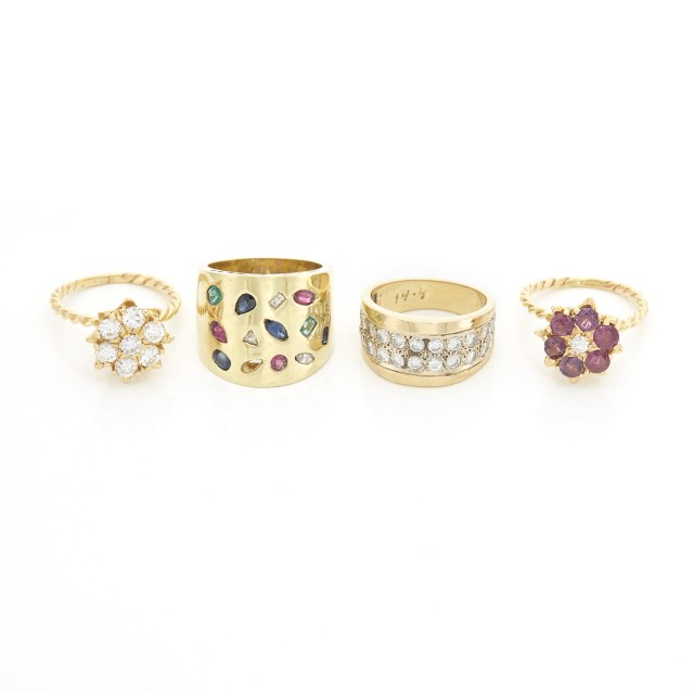 Two Gold and Diamond Flower Rings and Two Wide Gold, Diamond and Gem-Set Ring