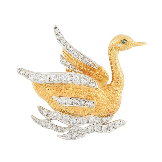 Gold, Platinum and Diamond Swan Brooch