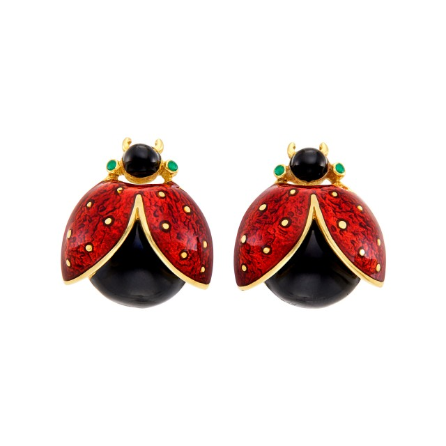 Pair of Gold and Enamel Lady Bug Cufflinks, David Webb