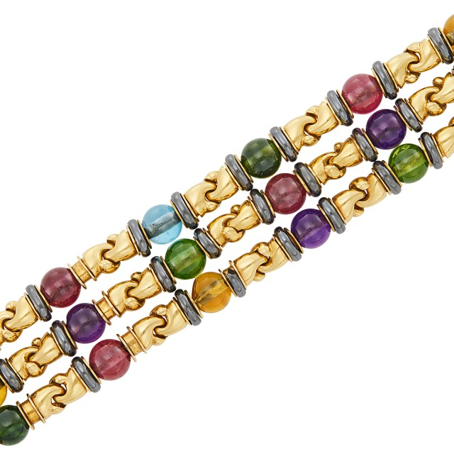 Triple Strand Gold, Colored Stone Bead, Hematite and Cabochon Ruby Bracelet, Bulgari