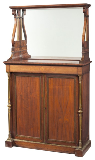 Regency Brass-Mounted and Inlaid Mahogany Side Cabinet  Circa