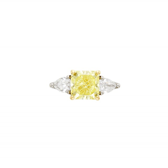 Platinum, Gold, Yellow Diamond and Diamond Ring