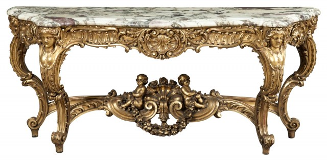 Louis XIV Style Giltwood Console with Marble Top